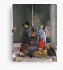 James Ensor - Skeletons Warming Themselves Canvas Print