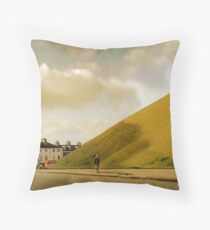 Mother with pram photographing hill in York, UK Throw Pillow