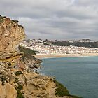 Rough and Moody - Stormy Clifftop View of Nazare Portugal  by Georgia Mizuleva