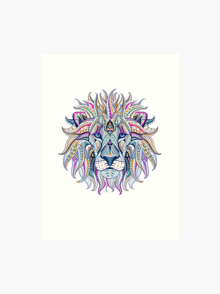 lion lion king mandala drawing pattern india yoga meditation calm playful |  Art Print