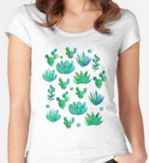 Watercolor Succulents Women's Fitted Scoop T-Shirt