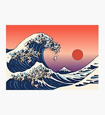 The Great Wave of French Bulldog Photographic Print