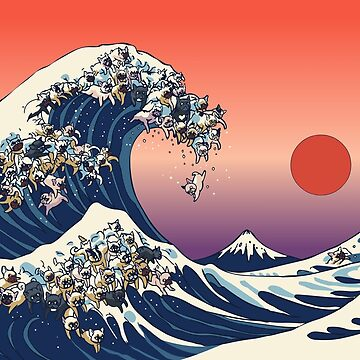 The Great Wave of French Bulldog by Huebucket