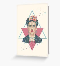 Pastel Frida - Geometric Portrait with Triangles Greeting Card
