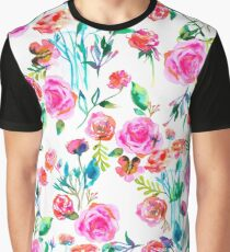 Roses bouquet watercolor pattern Graphic T-Shirt