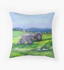 The Little Grey Fergie Tractor Throw Pillow