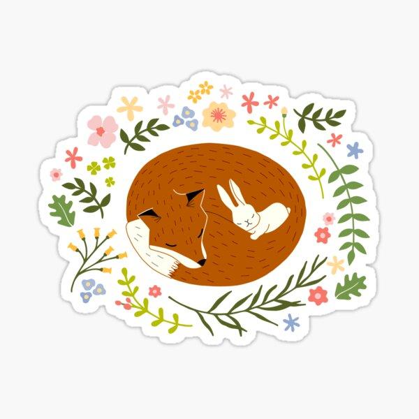 Friendship Fox-Rabbit_BgWhite Sticker
