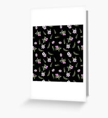 Seamless watercolor small flowers pattern on black Greeting Card