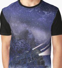 Snowy Night Train Graphic T-Shirt