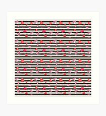 Valentines Day seamless pattern with watercolor hearts on striped background Art Print