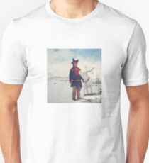 Sami and Reindeer on Magerøya, Norway near the Nordkapp - Diana 120mm Photograph Unisex T-Shirt