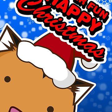 Fuzzballs Super Fun Happy Christmas Tiger Card by rabbitbunnies
