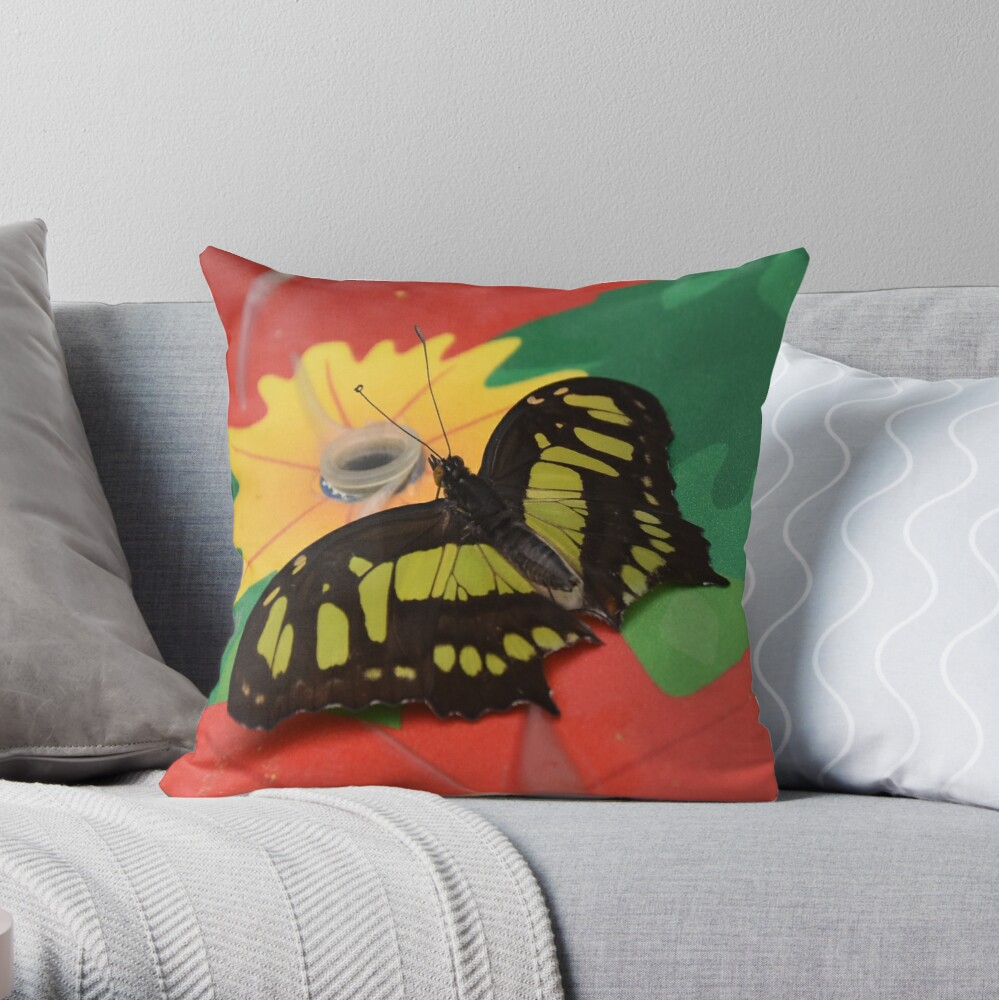 Malachite butterfly Throw Pillow
