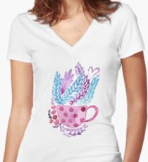 Blooming cup Women's Fitted V-Neck T-Shirt