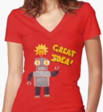 retro cartoon robot with great idea Women's Fitted V-Neck T-Shirt