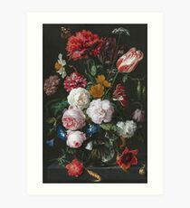 Jan Davidsz De Heem - Still Life With Flowers In A Glass Vase Art Print