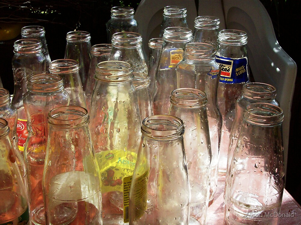 Empty sauce bottles by Alison McDonald