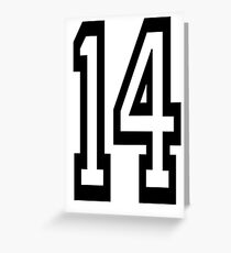 14, TEAM SPORTS, NUMBER 14, FOURTEEN, FOURTEENTH, Competition,  Greeting Card