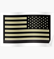 AMERICAN ARMY, Soldier, American Military, Arm Flag, US Military, IR, Infrared, USA, Flag, Reverse side flag, on BLACK Poster