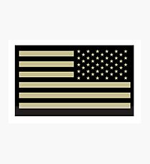 AMERICAN ARMY, Soldier, American Military, Arm Flag, US Military, IR, Infrared, USA, Flag, Reverse side flag, on BLACK Photographic Print