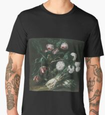 Jan Fyt - Vase Of Flowers And Two Bunches Of Asparagus Men's Premium T-Shirt