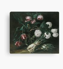 Jan Fyt - Vase Of Flowers And Two Bunches Of Asparagus Canvas Print