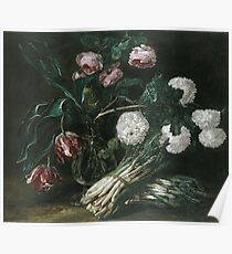 Jan Fyt - Vase Of Flowers And Two Bunches Of Asparagus Poster