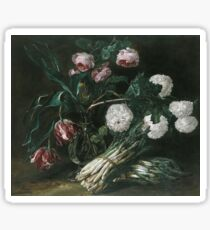 Jan Fyt - Vase Of Flowers And Two Bunches Of Asparagus Sticker