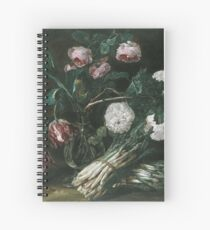 Jan Fyt - Vase Of Flowers And Two Bunches Of Asparagus Spiral Notebook