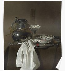 Jan Jansz. Treck - Still Life With A Pewter Flagon And Two Ming Bowls Poster