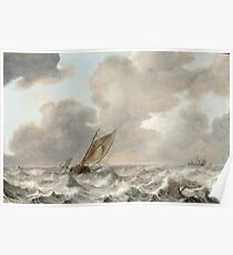 Jan Porcellis - Vessels In A Moderate Breeze.jpeg Poster