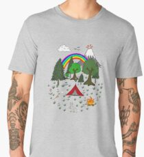Cartoon Camping Scene Men's Premium T-Shirt