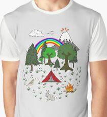Cartoon Camping Scene Graphic T-Shirt