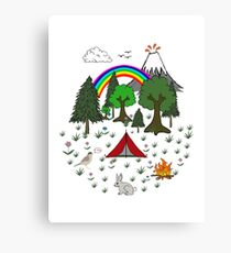 Cartoon Camping Scene Canvas Print