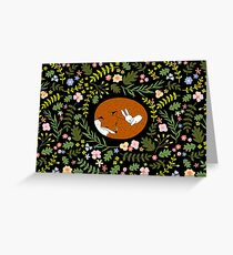 Friendship Fox-Rabbit_BgBlack Greeting Card
