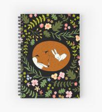 Friendship Fox-Rabbit_BgBlack Spiral Notebook
