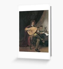 Jan Steen - Self-Portrait Playing The Lute Greeting Card