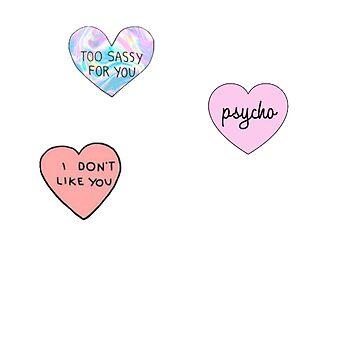 Heart sassy pycho set by Lovecartoons121