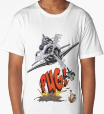 Cute Pilot Pug Dog   Long T-Shirt