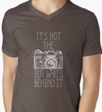 Camera white ink Men's V-Neck T-Shirt