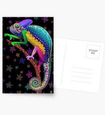 Chamäleon-Fantasie-Regenbogen-Farben Postkarten