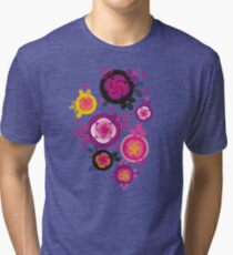 Rose and leaves inside circles Tri-blend T-Shirt