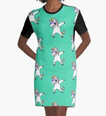 Dabbing Unicorn Shirt Dab Hip Hop Funny Magic Graphic T-Shirt Dress
