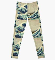 Hokusai, The Great Wave off Kanagawa, Japan, Japanese, Wood block, print Leggings
