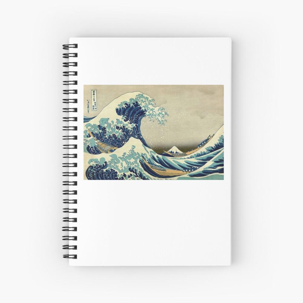 Hokusai, The Great Wave off Kanagawa, Japan, Japanese, Wood block, print Spiral Notebook