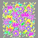 Pastel Flower Pattern on Grey Background by CarolineLembke