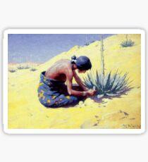 """William R Leigh Western Art """"Gathering Peyote"""" Sticker"""