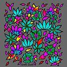 Flower Pattern on Grey Background by CarolineLembke