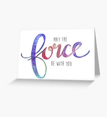 May the Force be with you Star Wars Watercolor Lettering Greeting Card