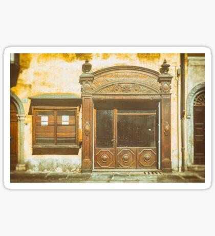 Old shop door and window Sticker